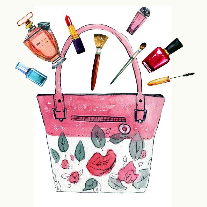 Συρμένη χέρι απεικόνιση watercolor με τη ρόδινη τυποποιημένη θηλυκή τσάντα με τα λουλούδια, τα αρώματα και τα καλλυντικά ελεύθερη απεικόνιση δικαιώματος
