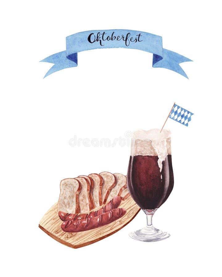 Συρμένη χέρι απεικόνιση watercolor με το ποτήρι της μπύρας και και των τροφίμων οδών απεικόνιση αποθεμάτων