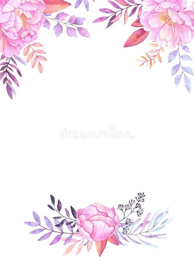 Συρμένη χέρι απεικόνιση watercolor Πλαίσιο με τα φύλλα, κλάδοι ελεύθερη απεικόνιση δικαιώματος