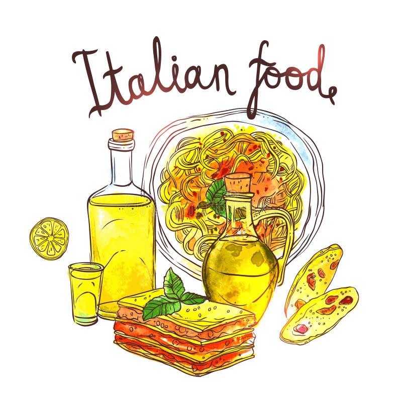 Συρμένη χέρι απεικόνιση Watercolor των ιταλικών τροφίμων ελεύθερη απεικόνιση δικαιώματος
