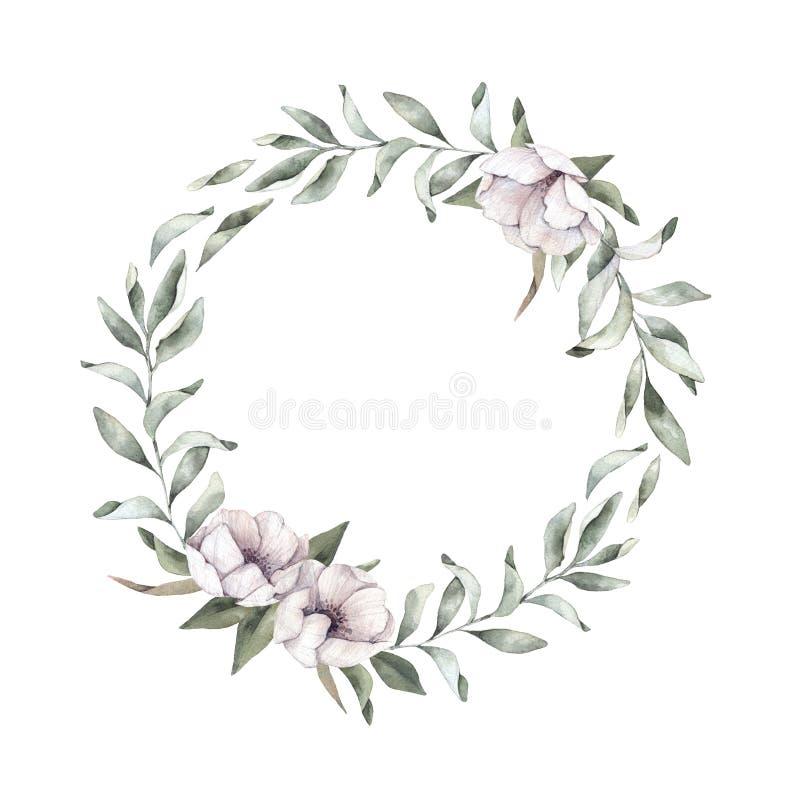 Συρμένη χέρι απεικόνιση watercolor - Floral στεφάνι Άνοιξη branc απεικόνιση αποθεμάτων