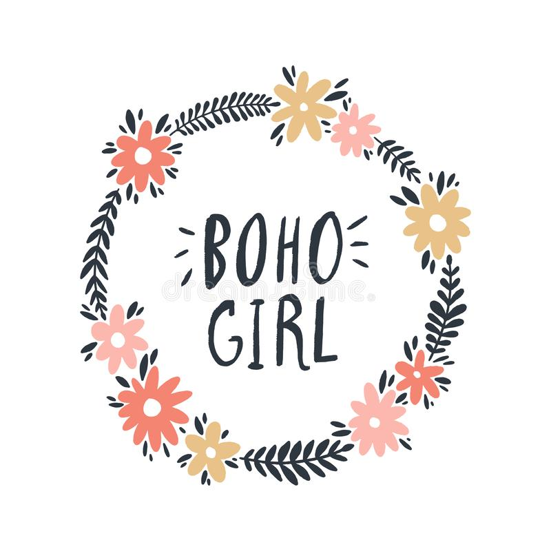 Συρμένη χέρι απλή floral απεικόνιση πλαισίων Έννοια κοριτσιών χίπηδων Boho Αγαθό για τις τυπωμένες ύλες μπλουζών ελεύθερη απεικόνιση δικαιώματος