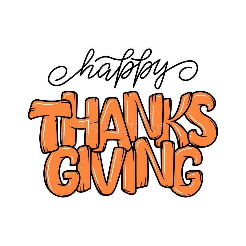 Συρμένη χέρι αφίσα τυπογραφίας ημέρας των ευχαριστιών Απόσπασμα εγγραφής εορτασμού διανυσματική απεικόνιση