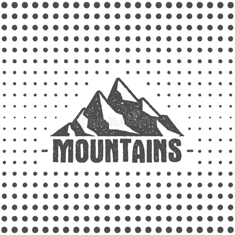 Συρμένη χέρι αφίσα τυπογραφίας ύφους αγριοτήτων παλαιά με τα αναδρομικά βουνά Letterpress επίδραση σφραγιδών τυπωμένων υλών ημίτο ελεύθερη απεικόνιση δικαιώματος