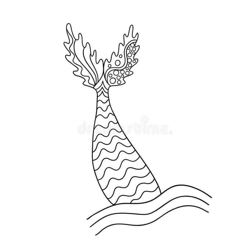 Συρμένη χέρι διακοσμητική ουρά γοργόνων ` s Διανυσματική απεικόνιση που απομονώνεται στην άσπρη ανασκόπηση ελεύθερη απεικόνιση δικαιώματος