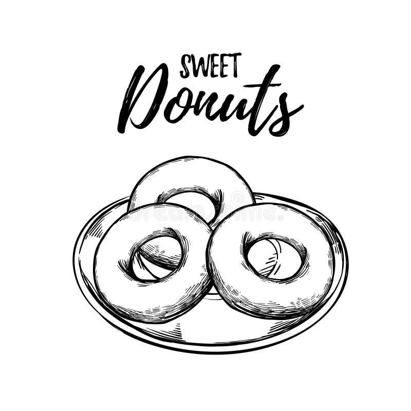 Συρμένη χέρι διανυσματική απεικόνιση - γλυκό Donuts σε ένα πιάτο Σχέδιο απεικόνιση αποθεμάτων