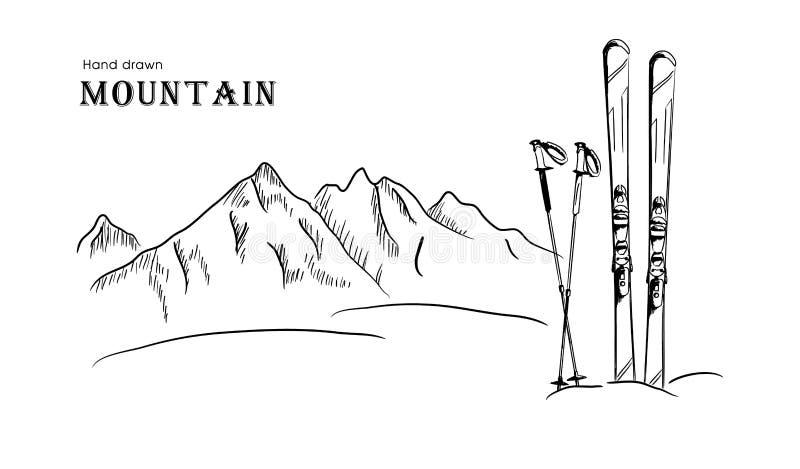Συρμένη χέρι διανυσματική απεικόνιση τοπίων βουνών και σκι γραφική μαύρη άσπρη απεικόνιση αποθεμάτων