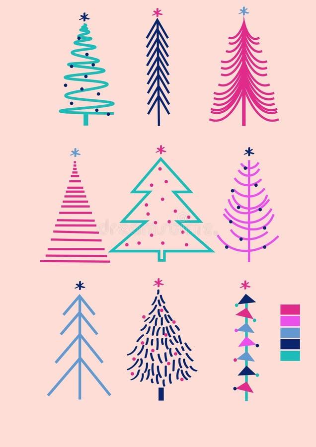 Συρμένη χέρι διανυσματική απεικόνιση των χαριτωμένων φωτεινών δέντρων Τέχνη Χριστουγέννων, σημάδι καλής χρονιάς 2020 διανυσματική απεικόνιση