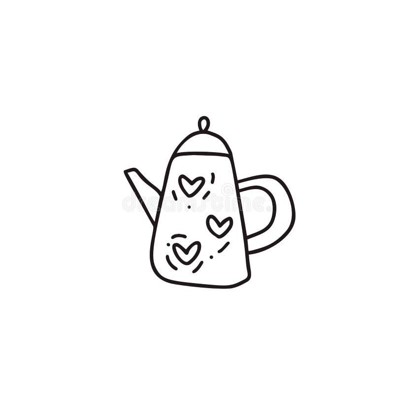 Συρμένη χέρι διανυσματική απεικόνιση doodle της κατσαρόλας τσαγιού Teapot σύμβολο γραμμών εικονιδίων Τέχνη ποιοτικών σκίτσων Mono ελεύθερη απεικόνιση δικαιώματος