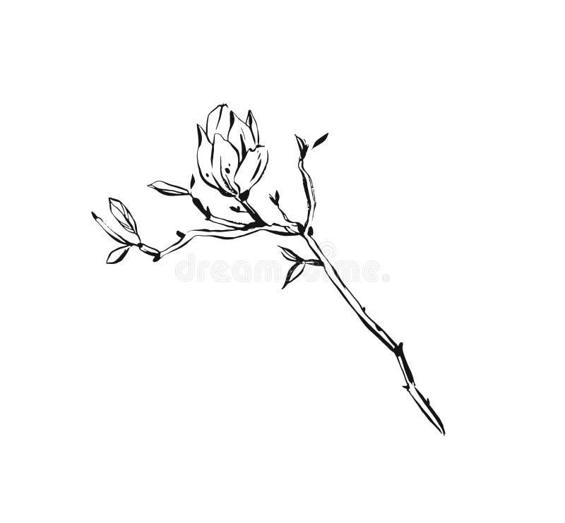 Συρμένη χέρι διανυσματική αφηρημένη καλλιτεχνική απεικόνιση σχεδίων σκίτσων μελανιού κατασκευασμένη γραφική των αγροτικών εγκατασ διανυσματική απεικόνιση