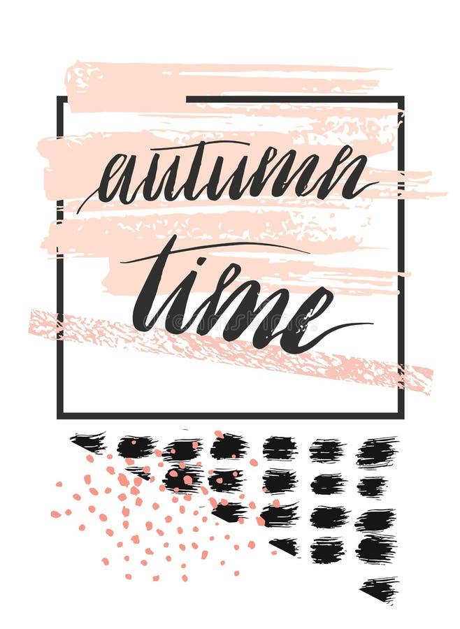 Συρμένη χέρι διανυσματική αφηρημένη κατασκευασμένη κάρτα προτύπων με το χειρόγραφο χρόνο φθινοπώρου φάσης εγγραφής, στα χρώματα κ διανυσματική απεικόνιση