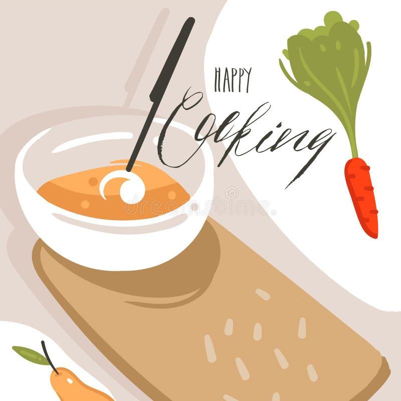 Συρμένη χέρι διανυσματική αφηρημένη σύγχρονη αφίσα απεικονίσεων κατηγορίας κινούμενων σχεδίων μαγειρεύοντας με την προετοιμασία τ ελεύθερη απεικόνιση δικαιώματος