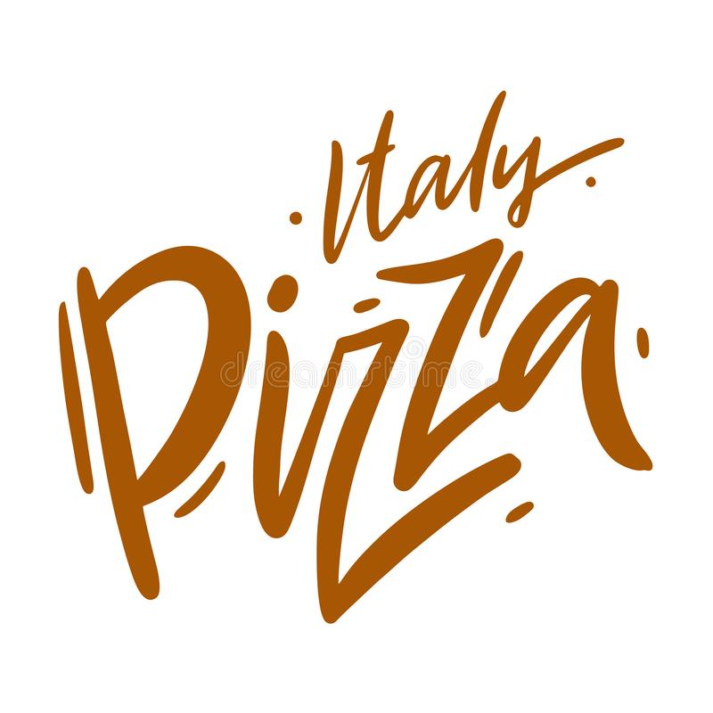 Συρμένη χέρι διανυσματική εγγραφή πιτσών της Ιταλίας Σύγχρονο μελάνι βουρτσών απεικόνιση αποθεμάτων