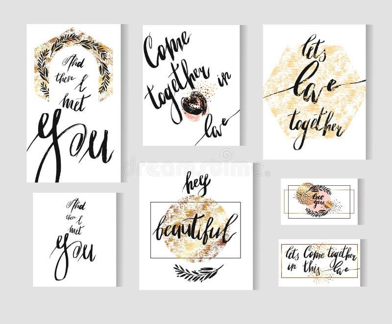 Συρμένη χέρι διανυσματική μεγάλη καθορισμένη συλλογή προτύπων καρτών με τις χειρόγραφες σύγχρονες φάσεις αγάπης εγγραφής μελανιού ελεύθερη απεικόνιση δικαιώματος