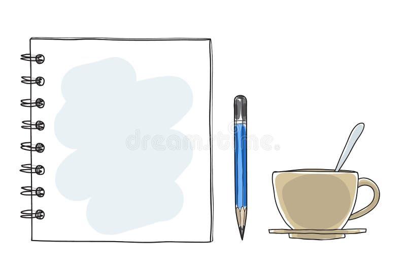 Συρμένη χέρι διανυσματική τέχνη φλυτζανιών και μολυβιών καφέ εγγράφου σημειώσεων σημειωματάριων
