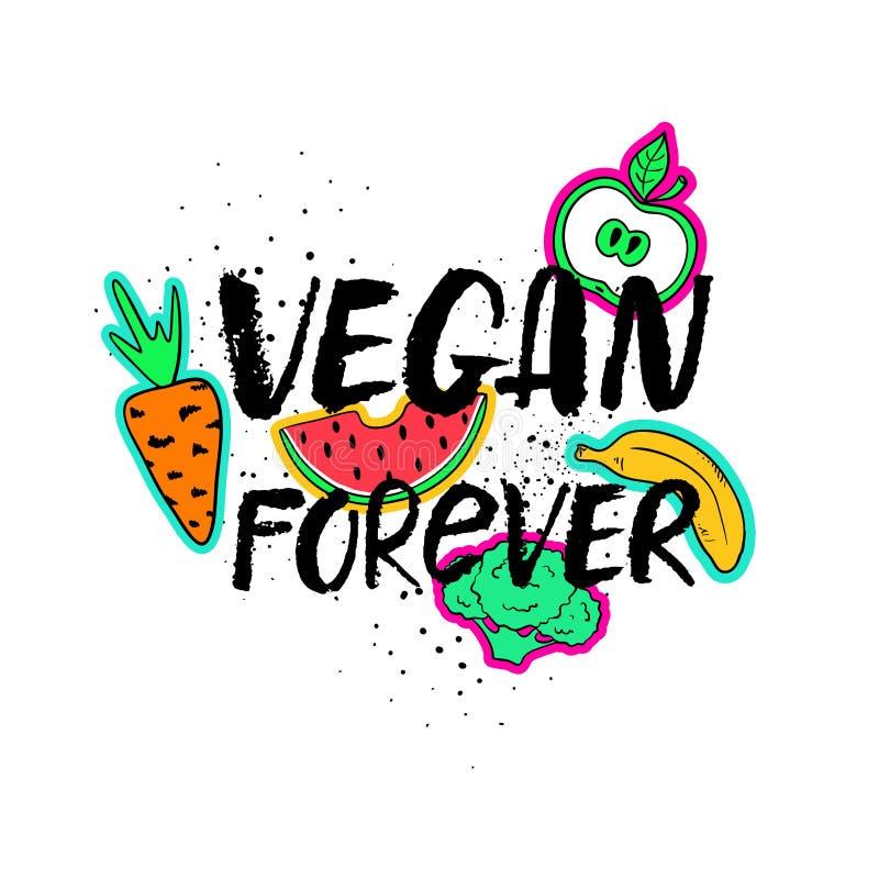 Συρμένη χέρι εγγραφή Vegan για πάντα απεικόνιση αποθεμάτων