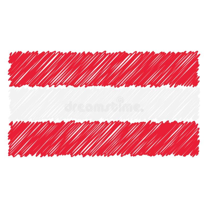Συρμένη χέρι εθνική σημαία της Αυστρίας που απομονώνεται σε ένα άσπρο υπόβαθρο Διανυσματική απεικόνιση ύφους σκίτσων απεικόνιση αποθεμάτων
