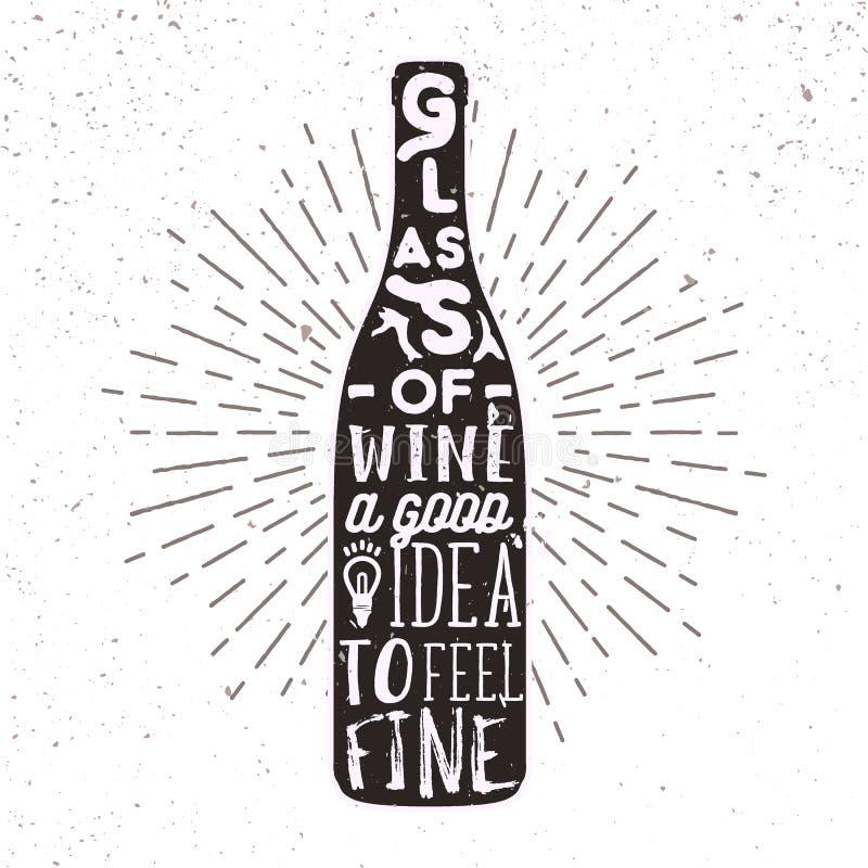 Συρμένη χέρι ετικέτα με το μπουκάλι, την ηλιοφάνεια και την εγγραφή κρασιού διανυσματική απεικόνιση