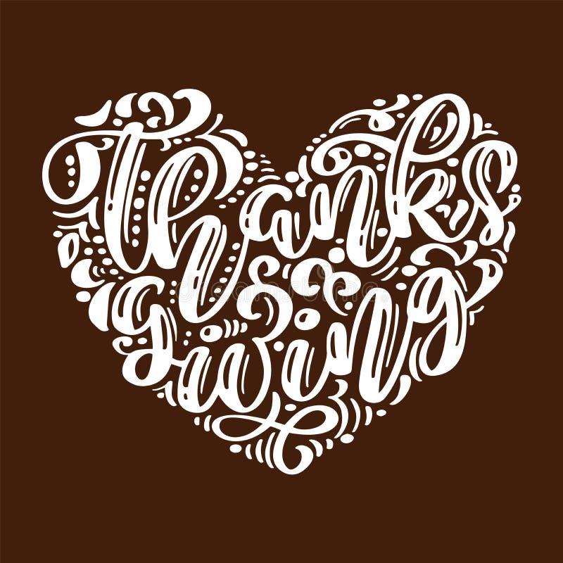 Συρμένη χέρι ευτυχής αφίσα τυπογραφίας ημέρας των ευχαριστιών Αναφορά εγγραφής εορτασμού για τη ευχετήρια κάρτα, κάρτα, γεγονός ελεύθερη απεικόνιση δικαιώματος