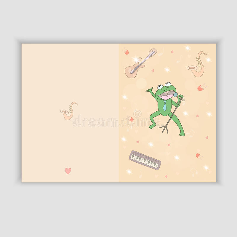 Συρμένη χέρι ευχετήρια κάρτα με τα μουσικά όργανα και έναν βάτραχο τραγουδιού Γλυκιά κάρτα συγχαρητηρίων μέσα απεικόνιση αποθεμάτων