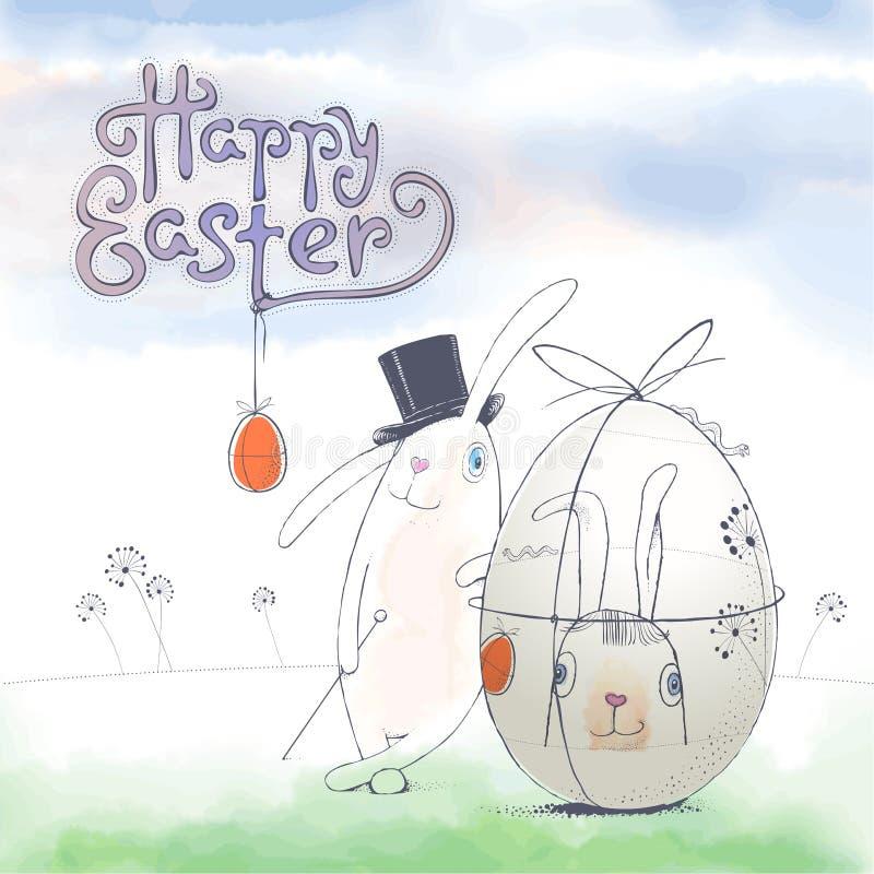 Συρμένη χέρι ευχετήρια κάρτα Πάσχας με το διανυσματικό σχήμα bunny Πάσχα απεικόνιση αποθεμάτων
