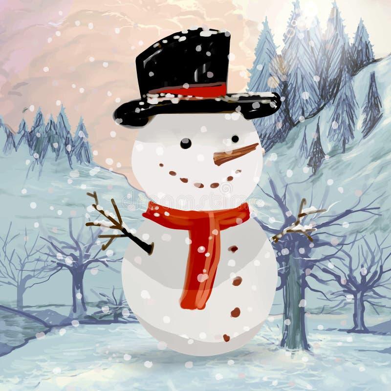 Συρμένη χέρι ευχετήρια κάρτα Χριστουγέννων χιονανθρώπων διανυσματική απεικόνιση