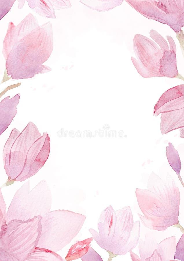 Συρμένη χέρι ζωγραφική Watercolor του πλαισίου magnolia στοκ φωτογραφία με δικαίωμα ελεύθερης χρήσης