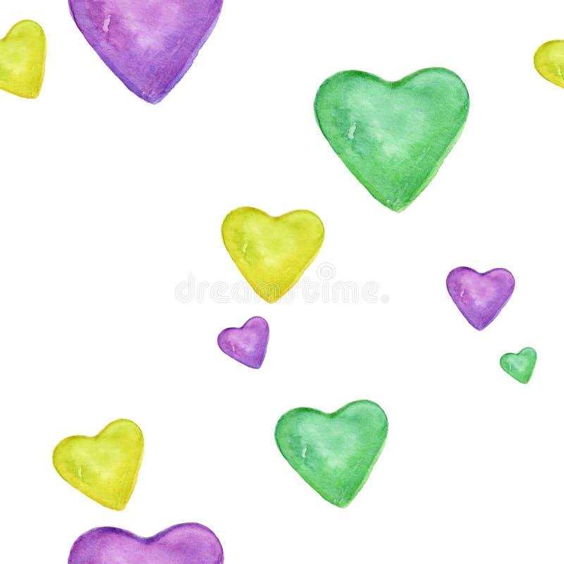 Συρμένη χέρι ζωηρόχρωμη καρδιά που απομονώνεται στο άσπρο ρομαντικό σχέδιο υποβάθρου Άνευ ραφής σχέδιο watercolor ελεύθερη απεικόνιση δικαιώματος