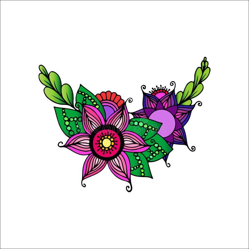 Συρμένη χέρι διακόσμηση με τα λουλούδια στοκ εικόνες με δικαίωμα ελεύθερης χρήσης
