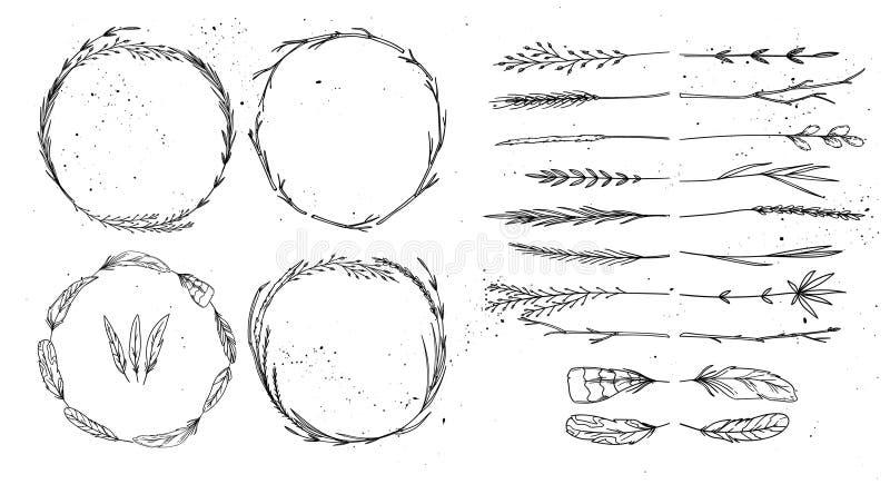 Συρμένη χέρι διανυσματική απεικόνιση Εκλεκτής ποιότητας διακοσμητική συλλογή διανυσματική απεικόνιση