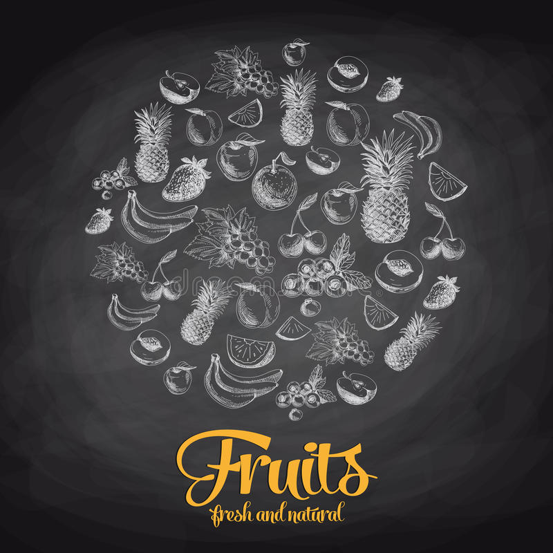 Συρμένη χέρι διανυσματική απεικόνιση με τα φρούτα και διανυσματική απεικόνιση