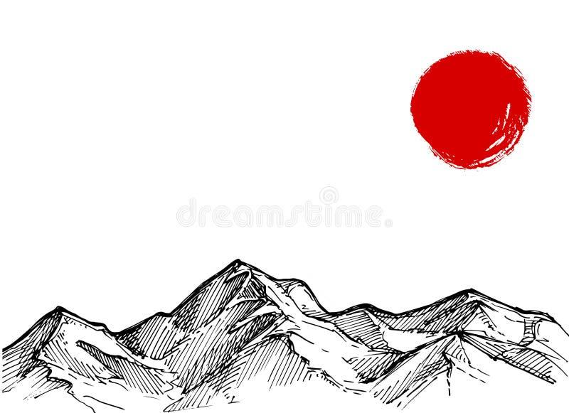 Συρμένη χέρι διανυσματική απεικόνιση - τοπίο με τα βουνά και το Πε απεικόνιση αποθεμάτων