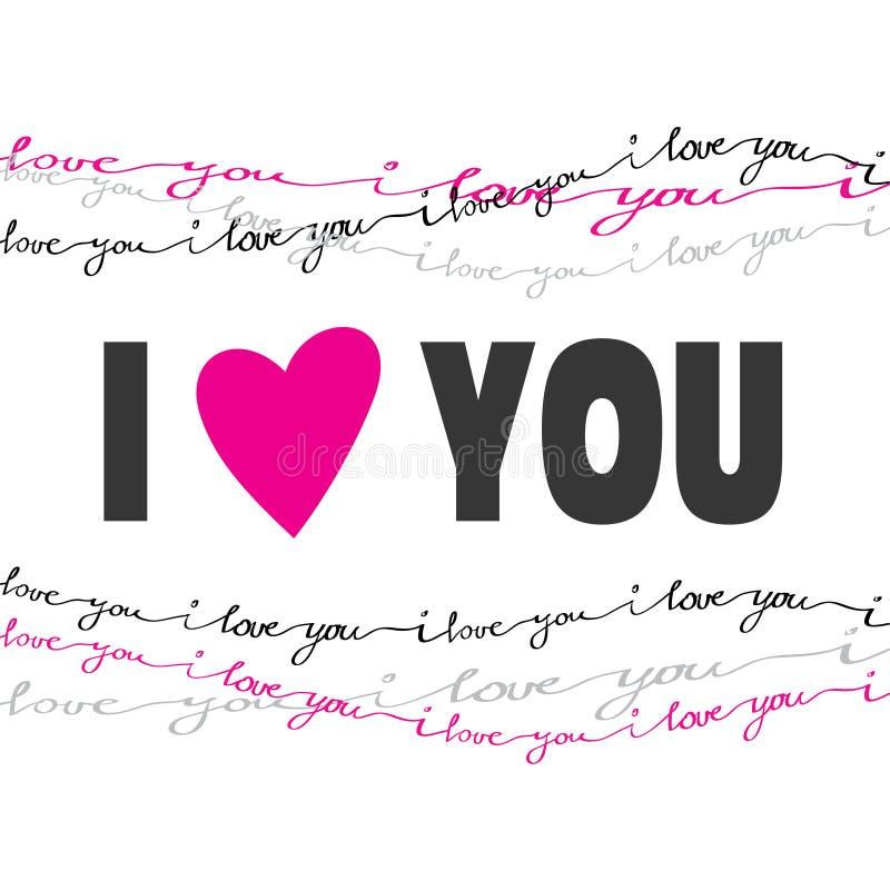 Συρμένη χέρι κάρτα τυπογραφίας Κάρτα αγάπης βαλεντίνων διανυσματική απεικόνιση