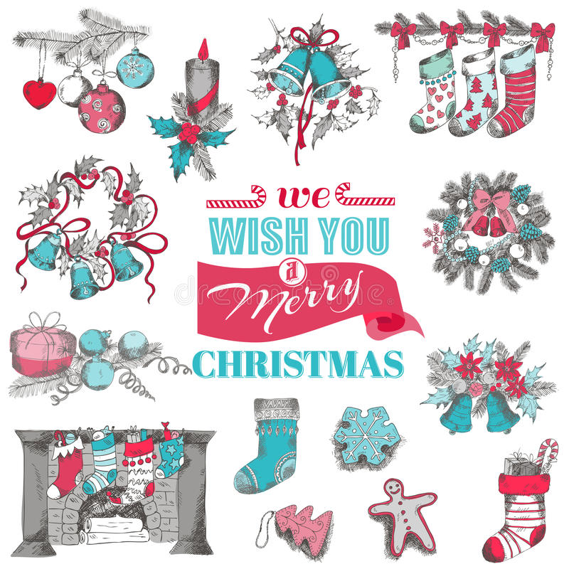 Συρμένη χέρι κάρτα Χριστουγέννων διανυσματική απεικόνιση