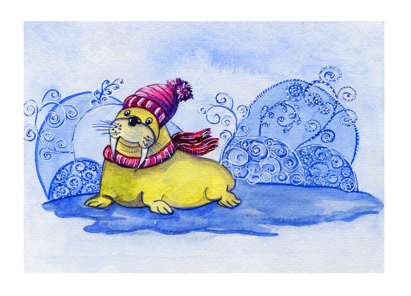 Συρμένη χέρι κάρτα Watercolor με το χαριτωμένο οδόβαινο χαμόγελου στο πλεκτό καπέλο και ριγωτό μαντίλι στο χειμερινό διακοσμητικό διανυσματική απεικόνιση
