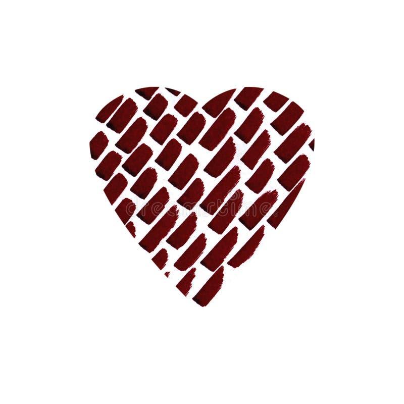 Συρμένη χέρι καρδιά απεικόνισης με τα κόκκινα κτυπήματα για την ημέρα του βαλεντίνου, την ημέρα της μητέρας ή τους γάμους απεικόνιση αποθεμάτων