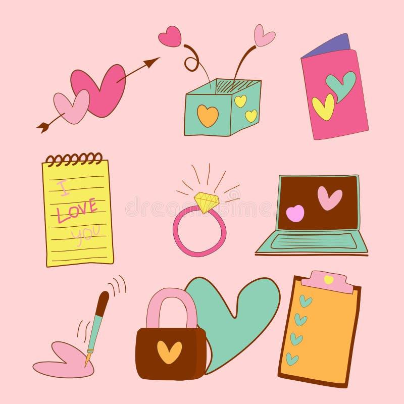 Συρμένη χέρι καρδιά βαλεντίνων με το εργαλείο γραφείων, αγάπη απεικόνιση αποθεμάτων