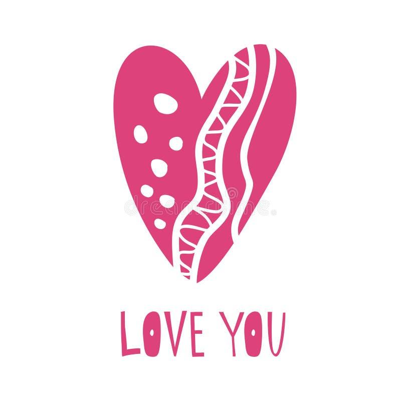 Συρμένη χέρι καρδιά με την αγάπη εγγραφής εσείς απεικόνιση αποθεμάτων