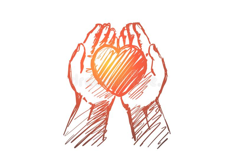 Συρμένη χέρι καρδιά στις ανθρώπινες παλάμες απεικόνιση αποθεμάτων