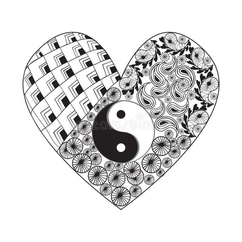 Συρμένη χέρι καρδιά με το σύμβολο Yin yang, ασιατικό στοιχείο στο άσπρο Β απεικόνιση αποθεμάτων