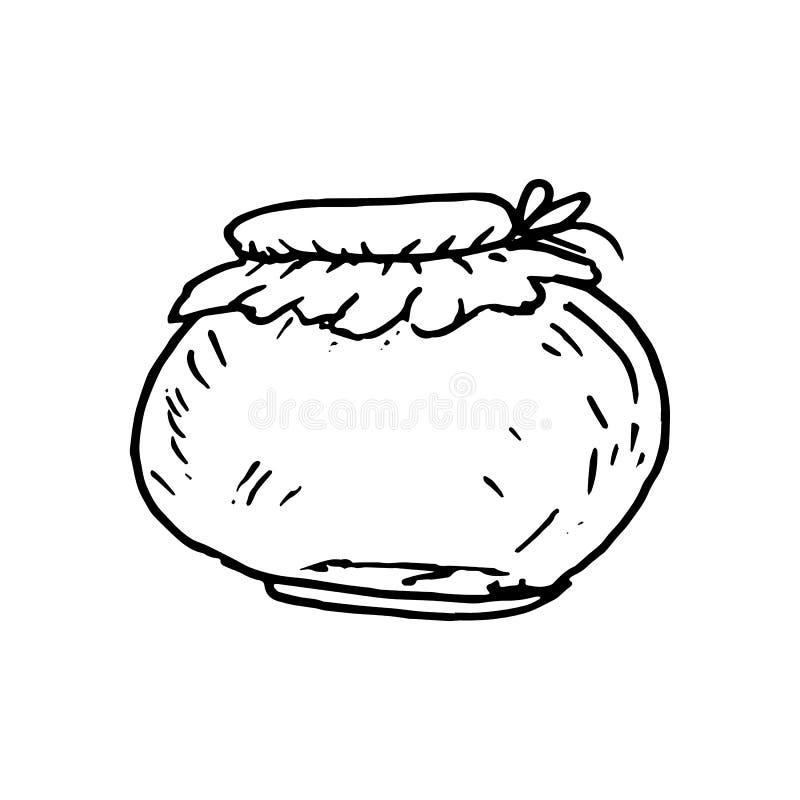 Συρμένη χέρι κονσερβοποιώντας τράπεζα doodle Εικονίδιο ύφους σκίτσων Διακόσμηση EL ελεύθερη απεικόνιση δικαιώματος