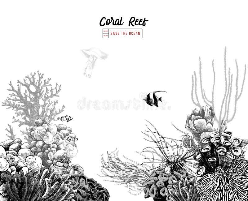 Συρμένη χέρι κοραλλιογενής ύφαλος με τα τροπικά ψάρια διανυσματική απεικόνιση