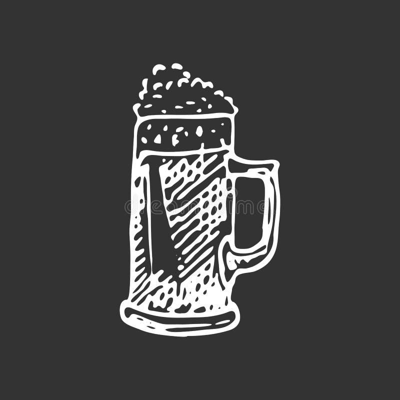 Συρμένη χέρι κούπα μπύρας doodle Τρόφιμα σκίτσων και ποτό, εικονίδιο Decorat ελεύθερη απεικόνιση δικαιώματος