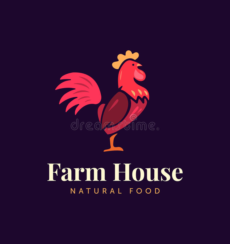 Συρμένη χέρι κότα Διανυσματικό λογότυπο για την εγχώρια επιχείρηση με τα προϊόντα από το κρέας και τα αυγά κοτόπουλου Απεικόνιση  διανυσματική απεικόνιση