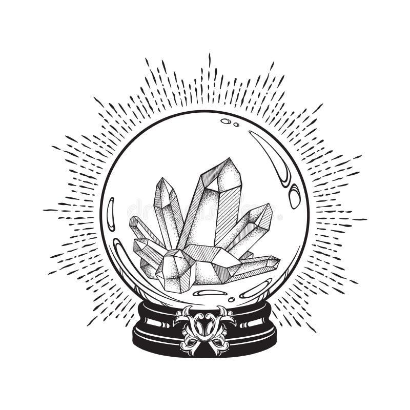Συρμένη χέρι μαγική σφαίρα κρυστάλλου με την τέχνη γραμμών πολύτιμων λίθων και την εργασία σημείων Κομψή δερματοστιξία Boho, αφίσ ελεύθερη απεικόνιση δικαιώματος