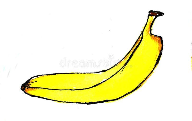 Συρμένη χέρι μπανάνα σχεδίων μπανανών, ζωηρόχρωμη μπανάνα Watercolor στο άσπρο υπόβαθρο που απομονώνεται απεικόνιση αποθεμάτων