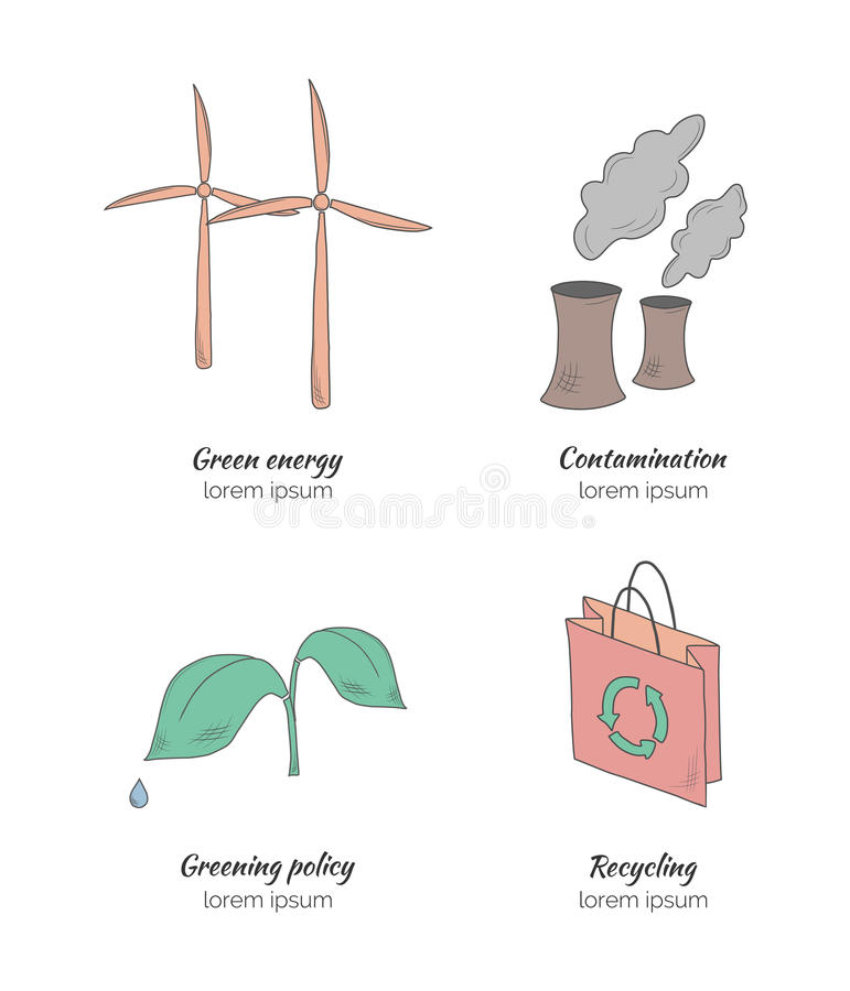 Συρμένη χέρι οικολογία απεικόνιση αποθεμάτων