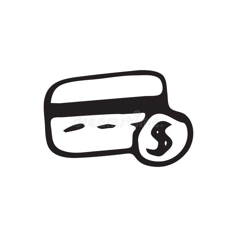Συρμένη χέρι πιστωτική κάρτα doodle Εικονίδιο δολαρίων σκίτσων Διακόσμηση EL απεικόνιση αποθεμάτων