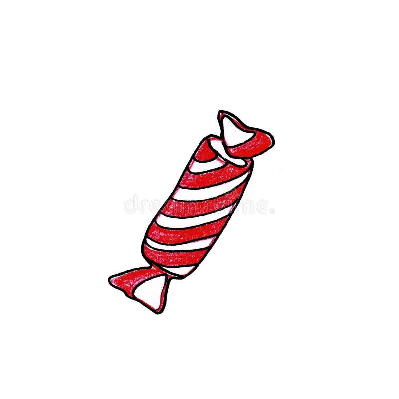 Συρμένη χέρι ριγωτή άσπρη και κόκκινη καραμέλα Χριστουγέννων που απομονώνεται στο άσπρο υπόβαθρο διανυσματική απεικόνιση
