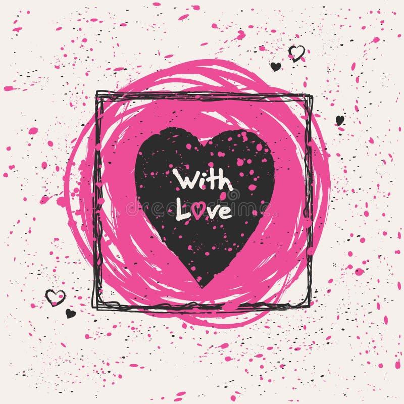 Συρμένη χέρι ρομαντική κάρτα με την καρδιά ελεύθερη απεικόνιση δικαιώματος
